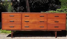 Load image into Gallery viewer, REFINISHED MCM Teak Set of Dresser 9 Drawers and Talboy, PERFECT