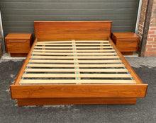 Load image into Gallery viewer, REFINISHED MCM Teak Bed Queen with two separate night stands, PERFECT