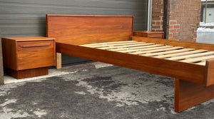 REFINISHED MCM Teak Bed Queen with two separate night stands, PERFECT