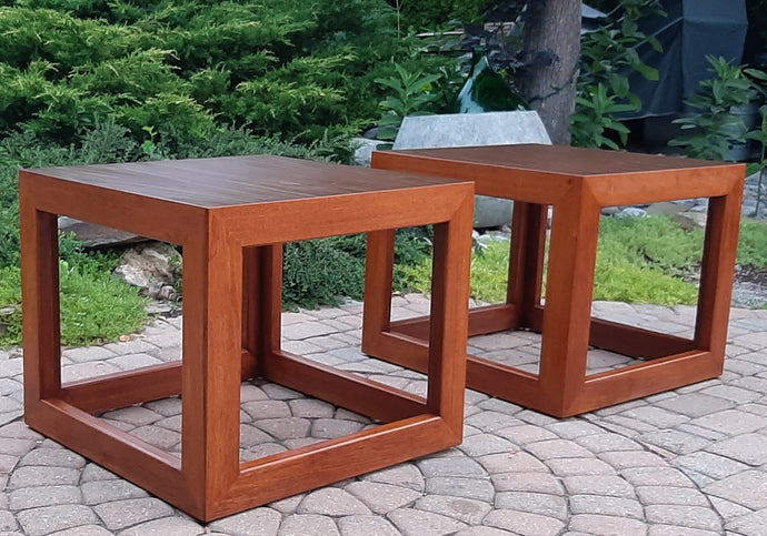 Set of 2 REFINISHED MCM Walnut Accent or Bedside Tables, large