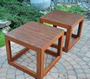 Set of 2 REFINISHED MCM Walnut Accent or Bedside Tables, large, perfect