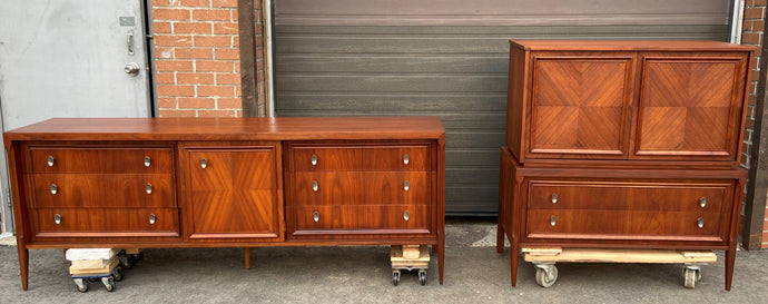 REFINISHED MCM Walnut Set of Dresser/Credenza and Tallboy/Gentleman chest