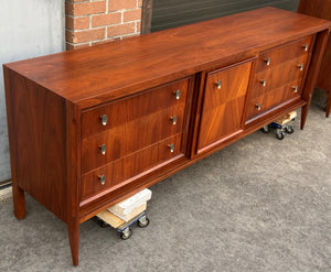 On HOLD***REFINISHED MCM Walnut Set of Dresser/Credenza and Tallboy/Gentleman chest