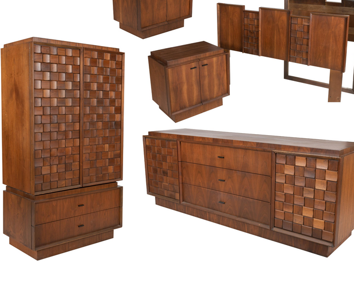 REFINISHED MCM Walnut Brutalist Bedroom SET in Paul Evans style, PERFECT
