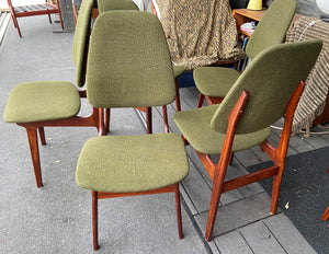 6 REFINISHED MCM Teak chairs by Brødrene Sørheim in Maharam wool upholstery, Norway, Perfect