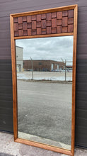 Load image into Gallery viewer, REFINISHED Mid Century Modern Brutalist large walnut mirror, PERFECT