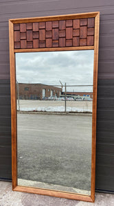 REFINISHED Mid Century Modern Brutalist large walnut mirror, PERFECT