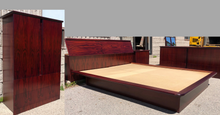 Load image into Gallery viewer, RESTORED MCM Rosewood Bedroom set: 2 dressers, platform bed Queen,  2 nightstands, Mint