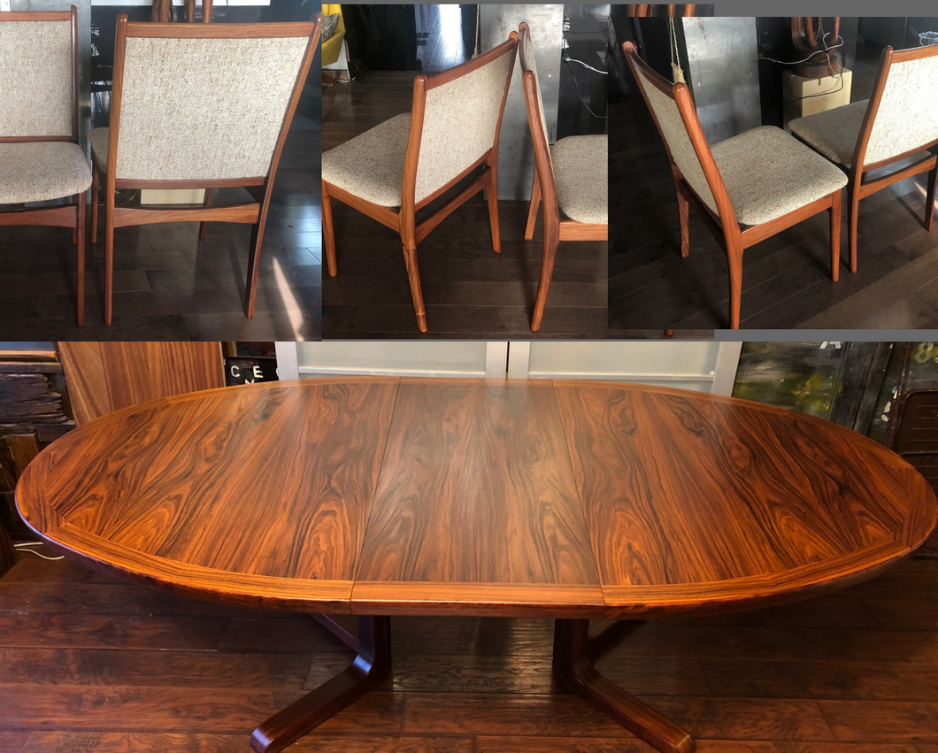 Set REFINISHED Danish MCM Rosewood Table Oval w 2 Leaves & 6 Chairs, all perfect - Mid Century Modern Toronto