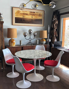 "Authentic Knoll E. Saarinen marble tulip dining table round 42"" and 4 Tulip chairs MINT super sale - Mid Century Modern Toronto"