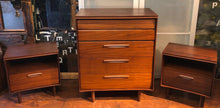 Load image into Gallery viewer, REFINISHED MCM SOLID Teak Dresser 9 drawers, Tallboy, Nightstands, Headboard and metal Queen bed frame by Imperial- PERFECT - - Mid Century Modern Toronto