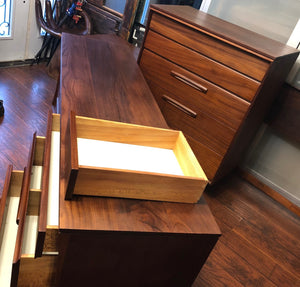 REFINISHED MCM SOLID Teak Dresser 9 drawers, Tallboy, Nightstands, Headboard and metal Queen bed frame by Imperial- PERFECT - - Mid Century Modern Toronto