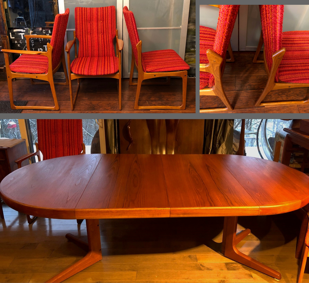 REFINISHED MCM  Teak Table Round w 2 Leaves & 6 Chairs by Vamdrup- like NEW - Mid Century Modern Toronto