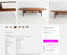 "Load image into Gallery viewer, REFINISHED Danish MCM teak coffee table with tile inlay 59"" A.H. Olsen style - Mid Century Modern Toronto"