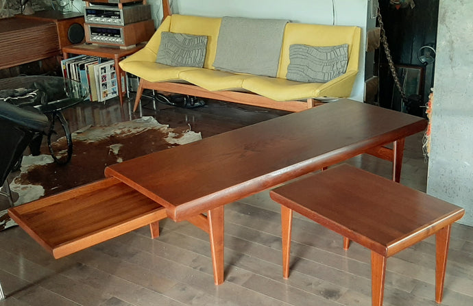 REFINISHED Danish MCM Teak Coffee Table 3 in 1 by Johannes Andersen , PERFECT