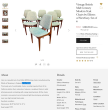 Load image into Gallery viewer, REFINISHED MCM Teak Extension Table & 6 Chairs by Elliotts of Newbury will be REUPHOLSTERED, Perfect