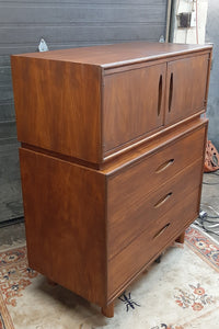 "REFINISHED MCM  Walnut Tall Dresser or Bureau with doors & drawers 42"" - Mid Century Modern Toronto"