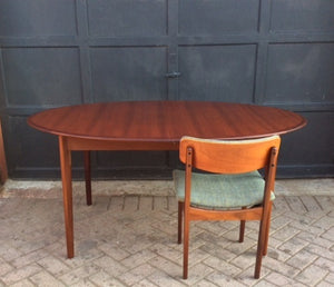 "REFINISHED Danish MCM  Teak Table Oval w 1 Leaf Self Storing 64""-84"" - Mid Century Modern Toronto"