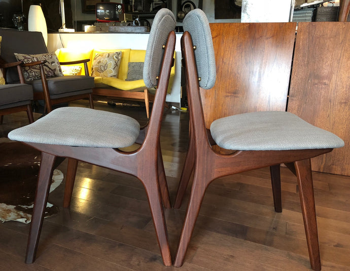 Set of 2 REUPHOLSTERED Danish MCM Teak Chairs, like new, each $275 (only this pair is available) - Mid Century Modern Toronto