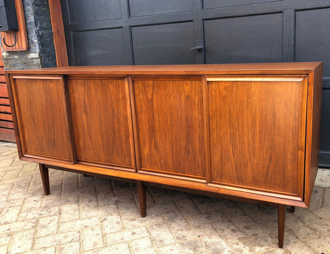 REFINISHED MCM Walnut Credenza w sliding doors 68