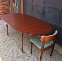 "Load image into Gallery viewer, REFINISHED Danish MCM  Teak Table Oval w 1 Leaf Self Storing 64""-84"" - Mid Century Modern Toronto"