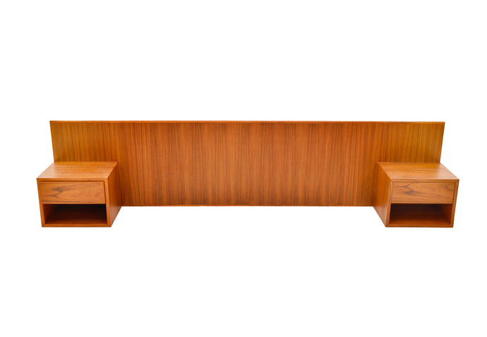 TEAK HEADBOARD WITH FLOATING NIGHT STANDS for QUEEN BED L 94.5