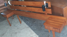 Load image into Gallery viewer, REFINISHED MCM Teak Headboard w floating nightstands Queen and Vanity or Desk, Perfect