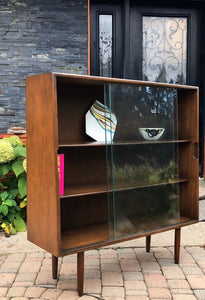 "MCM Ash Walnut Bookcase Display with glass doors like new 40.5"" trapezoid shape - Mid Century Modern Toronto"