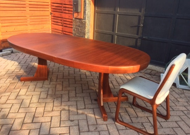 REFINISHED Grand MCM  Teak Table w 1 Leaf Oval 71
