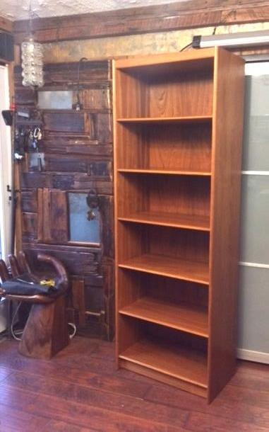 Danish MCM Teak Bookcase RESTORED H 78.5