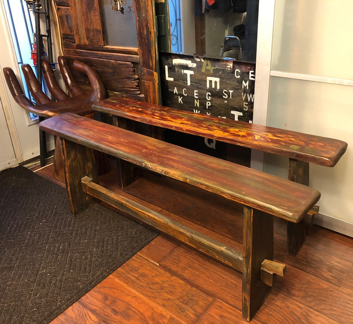 Reclaimed wood rustic bench - compact & foldable, inside/outside, 1 available - Mid Century Modern Toronto