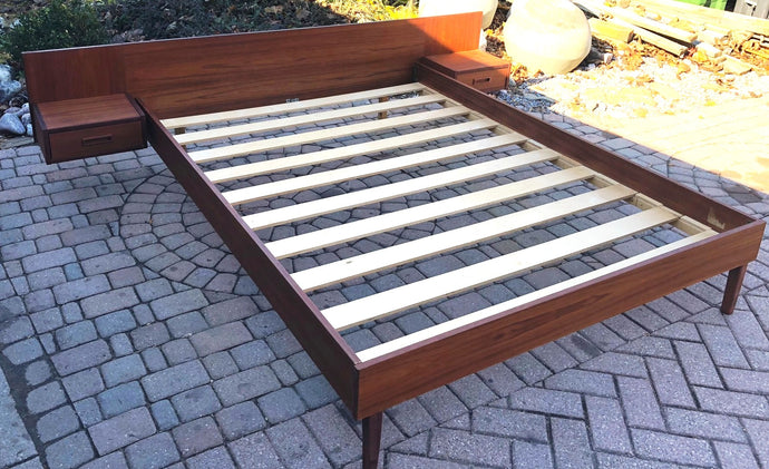 REFINISHED MCM Teak Bed with floating night stands Queen, Low profile - Mid Century Modern Toronto