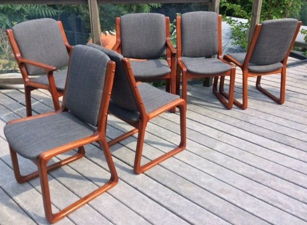 6 MCM Teak Chairs (2 arm, 4 side) Sleigh Base, REUPHOLSTERED, grey $199 each on Super Sale - Mid Century Modern Toronto