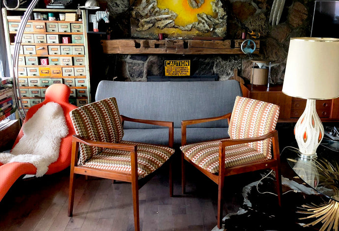 A Pair of REFINISHED REUPHOLSTERED MCM Walnut Armchairs by Walter Nugent, each $499 - Mid Century Modern Toronto