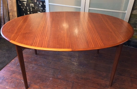 REFINISHED MCM Teak Table Oval (no leaf) 64