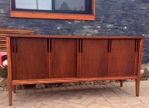 REFINISHED MCM Walnut Credenza w 2 Sliding Doors 60