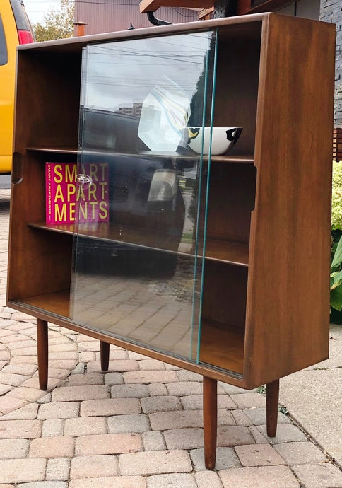 MCM Ash Walnut Bookcase Display with glass doors like new 40.5