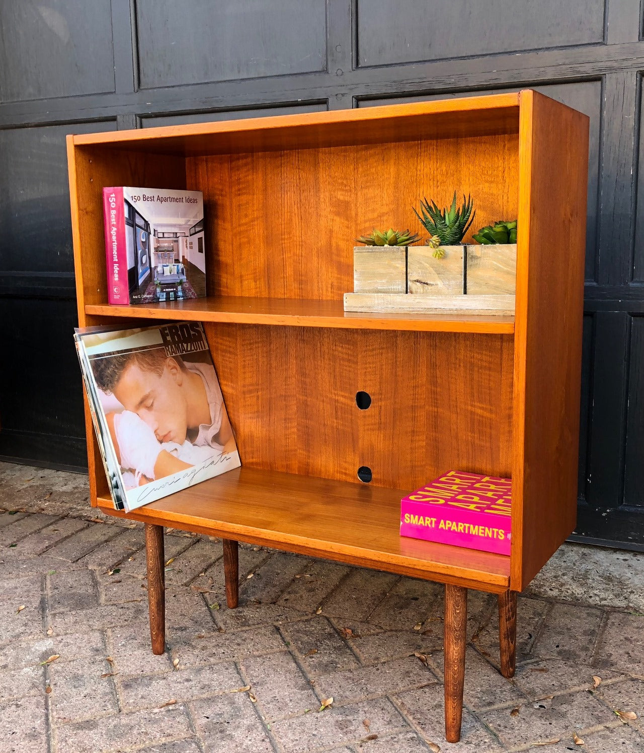 Refinished Mcm Teak Display Bookcase Small 32