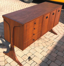 "Load image into Gallery viewer, REFINISHED MCM Walnut & Rosewood Credenza ""floating"" on 2 legs 56"" - Mid Century Modern Toronto"