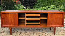 "Load image into Gallery viewer, NOT AVAILABLE *****REFINISHED Danish MCM Teak Credenza by B. Pedersen 78.5"" w sliding doors - Mid Century Modern Toronto"