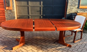 "REFINISHED Grand MCM  Teak Table w 1 Leaf Oval 71""-92"" - Mid Century Modern Toronto"