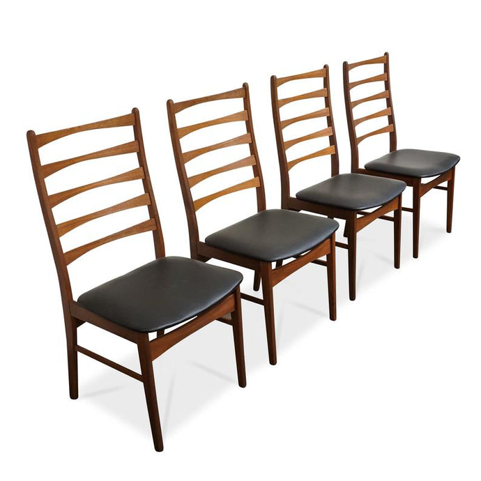 4 Danish MCM Teak Ladder-back Chairs  RESTORED, ready for new upholstery, each $229 only - Mid Century Modern Toronto