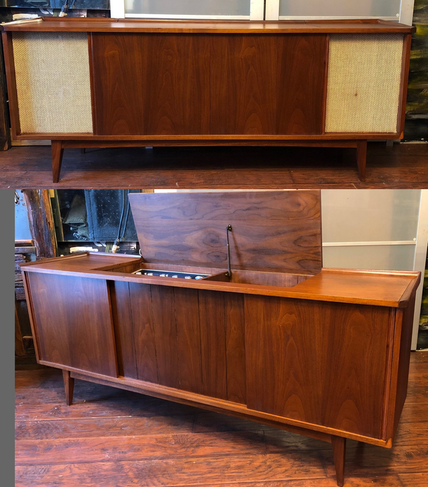 REFINISHED MCM Walnut Entertainment Console (inside can be customized for you), 66