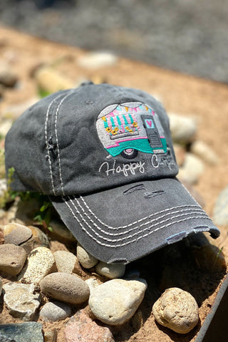 Happy Camper Cap - Charcoal