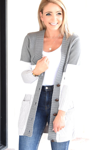 See You Around Cardigan - Grey Multi
