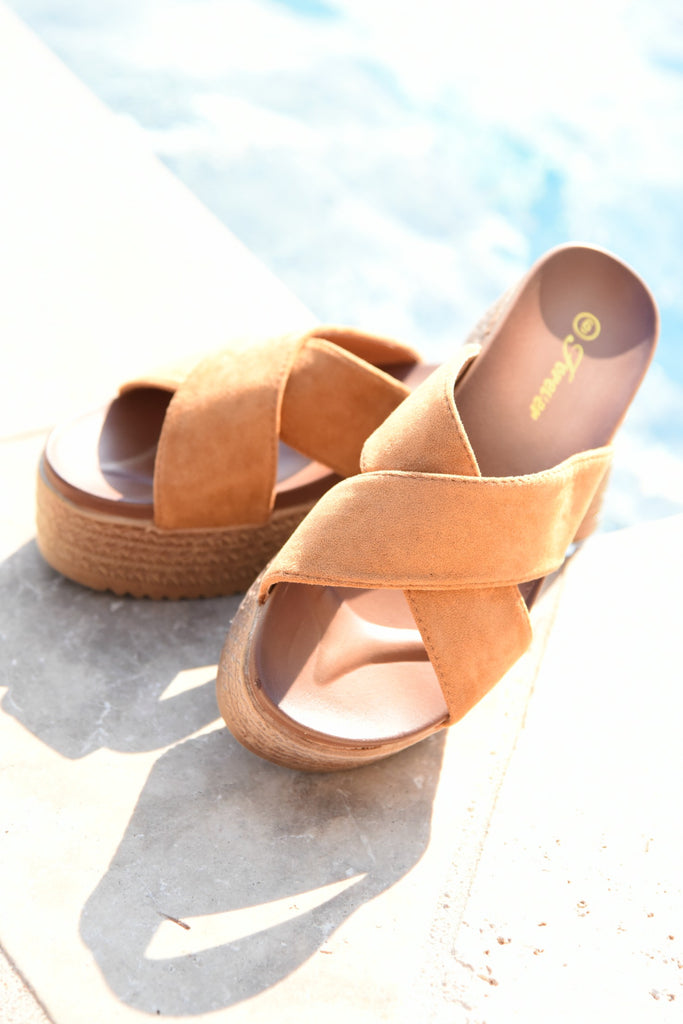 Walk This Way Platform Sandals - Tan