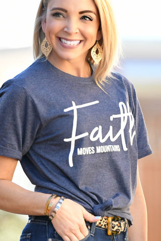 Faith Moves Mountains Tee - Heather Navy