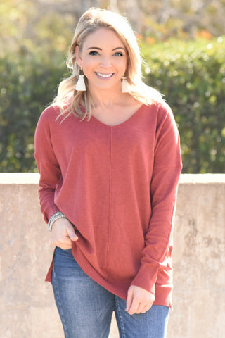 Simply Heaven V-Neck Sweater - Vintage Red