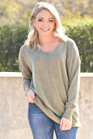 Simply Heaven V-Neck Sweater - Olive