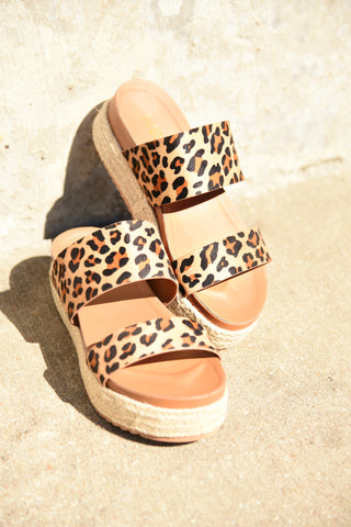 Come Together Platform Sandals - Leopard